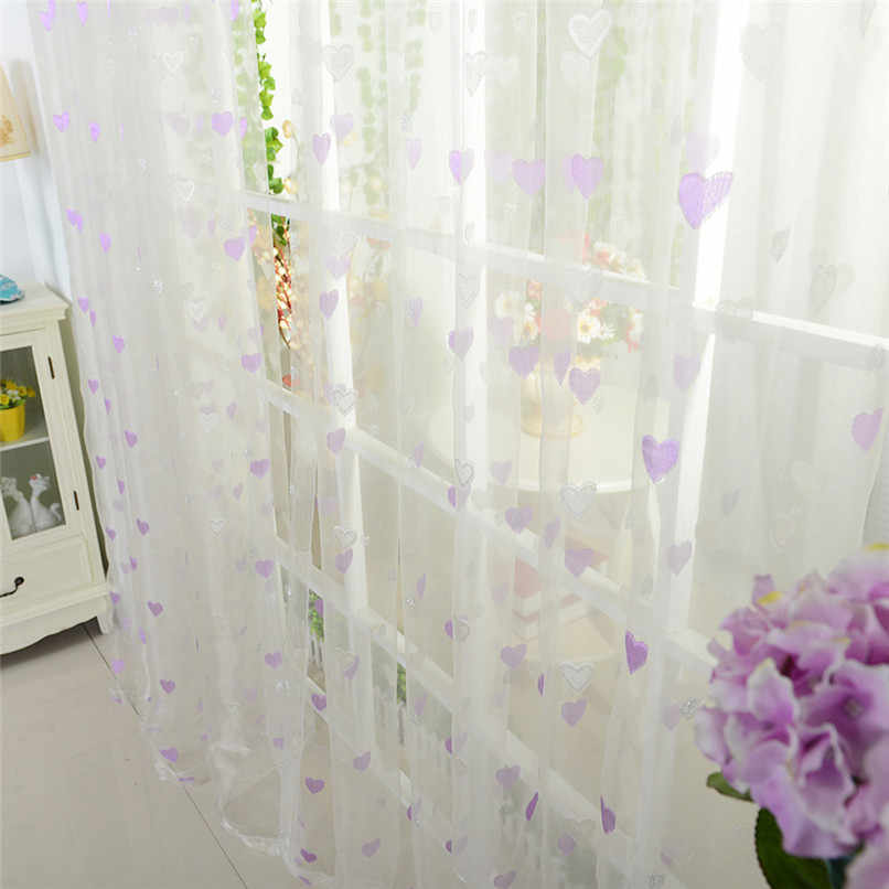 1PC Curtains For Living Room Heart Printed Door Window tulle Curtain Drape Panel Sheer Scarf Valances cortinas dormitorio D11