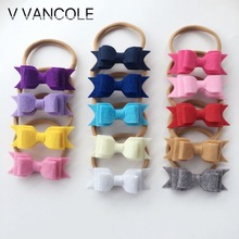 14 pcs/lot  Fashion 3 Layer Felt Fabric Hair Bow  Hair Flower Bowknot nylon headband Hair Accessory