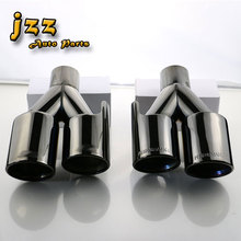 1set Automobile tailpipes double Burning Black Stainless Steel car silencer exhaust Pipe Muffler Tail tips for e46(China)