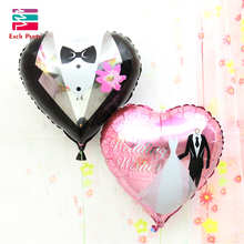 18 inches Wedding Decorations Heart Bride Groom Aluminium Foil Balloons Wedding Party Celebration love Helium Balloons Supplies(China)