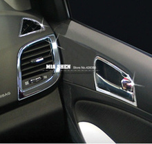 8PCS ABS Chrome For Hyundai Accent / i25 / Solaris / Verna 2010-2013 Interior Outlet Decoration Ring Molding Trim Covers