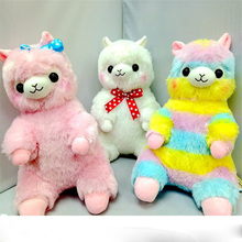 New Sitting Style 45cm 3 Colors Pink White Rainbow Alpaca Japan Alpacasso Plush Dolls Animals Toys Kids Alpaca Christmas Gifts