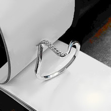 Japan and South Korea Fashion Simple Silver Color Crystal Rings  Electrocardiogram Design Ring For Woman Wholesale Free shipping