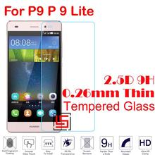 Cheap 0.26mm 2.5D 9H Tempered Temper Glass Cristal Phone Cell Front Film Screen Protector For Huawei Huaewi P9 Lite P9Lite