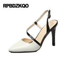 Pumps White Shoes 8cm 3 Inch Runway Stiletto Ladies 4 34 Small Size High Heels Pointed Toe Designer Brand Women Slingback Top