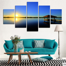 5 Panel Modern Sea Wave Painting Pictures Homd Decor Cuadros Wall Art Ocean Sunset Painting Canvas Prints Unframed F1739