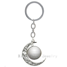 Trendy popular pure white Volleyball keychain Summer Beach Volleyball pture moon pendant key chain charm women keyring T858