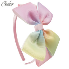 6Pcs/lot 4inch Rainbow Hairbands Boutique Colorful Ribbon Hairband Handmade Headband For Girls Kids Hair Accessories()