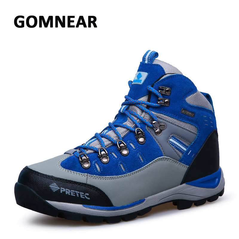 GOMNEAR Waterproof Hiking Shoes Men Cow Leather Trekking Hiking Boots Mountain Climbing Shoes Men Zapatillas Outdoor Hombre<br><br>Aliexpress