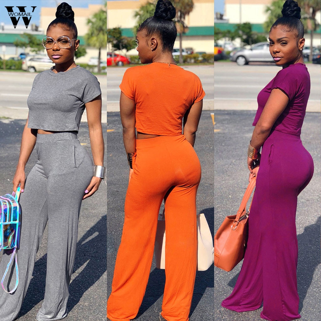 Womail Tracksuit Women Jumpsuit Pants Short-Sleeve Crop-Top Round-Neck 2piece-Set Casual title=