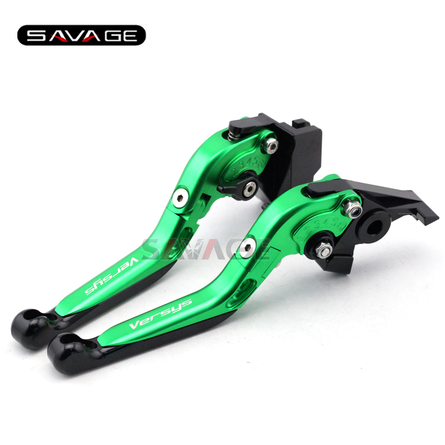 For KAWASAKI KLE 650 Versys 2009-2013 10 11 12 Green Motorcycle Adjustable Folding Extendable Brake Clutch Lever Logo Versys<br>
