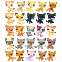 LPS toys Cute Short Hair cat collections White Pink Yellow Tabby Black Orange Super hero kitty pet shop animal