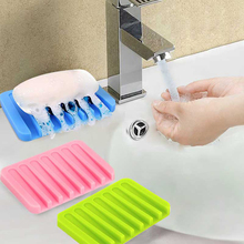 1Pc Bathroom Accessories Silicone Flexible Soap Dish Storage Soap Holder Plate Tray Drain Creative Bath Tools