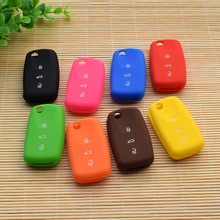 Car Silicone Flip Folding Key VW SEAT ALTEA TOLEDO LEON Cupra 3 Button remote control protector with logo jacket Cover styling