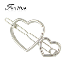 FANHUA Fashion Accessories Minimalist Hair Jewelry Gold-Color silver Color Geometric Double Heart Hairgrips Hairwear For Women(China)