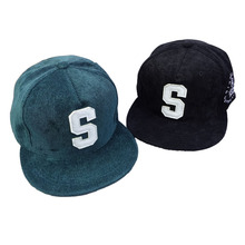 High quality S letter corduroy hip-hop adjustable leather buckle baseballhats for men and women snapback caps brand comfortable