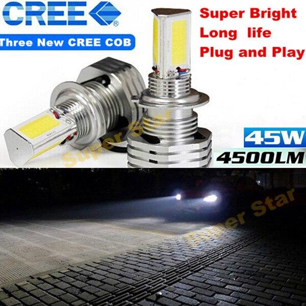 2 X  White 6000K  90W 9000LM   H4 9003 HB2  High Power CREE  Chips COB Car  LED  Headlights Hi/Low Beam  Bulb  Super Bright<br><br>Aliexpress