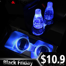 2pcs/set universal car waterproof solar LED car cup holder mat for toyota honda bmw vw opel car styling(China)