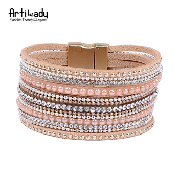 Artilady natural crystal bracelet luxury exclusive design genuine leather statement bangles for women with magic closure jewelry
