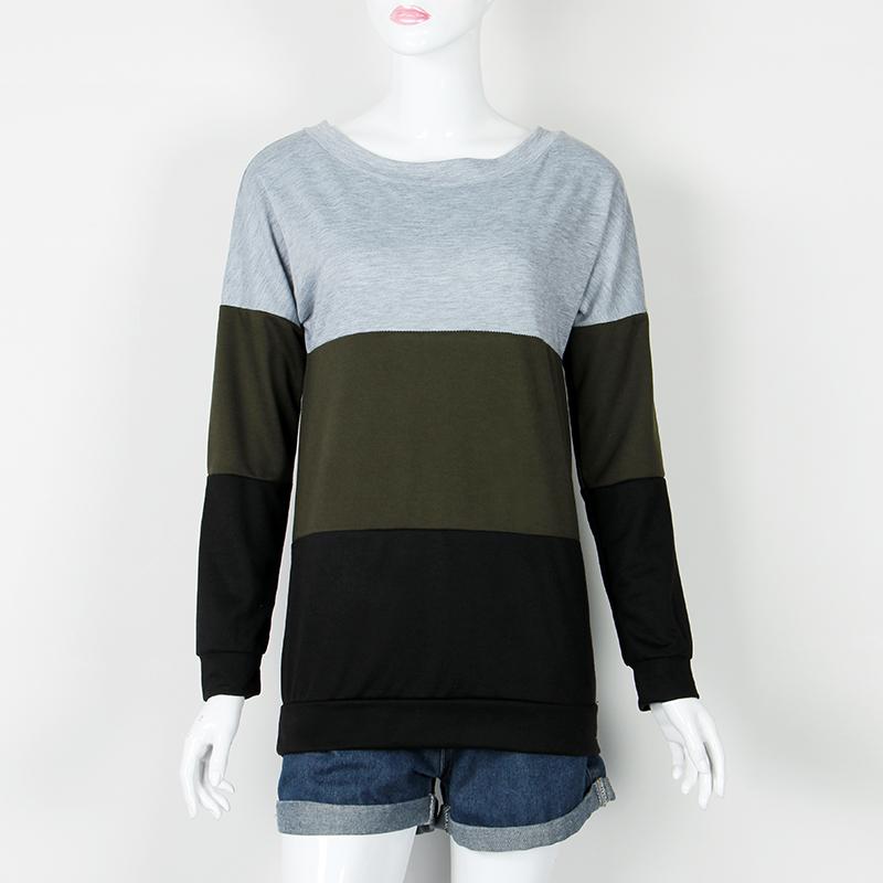 Sweatshirt, Women's Sweatshirt Patchwork Pullover 13
