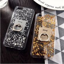 Cool Gold Leaf On TPU With I RING Transparency Soft Cell Phone Back Case Cover for iphone 5 5s 6 6s 7 8 Plus X(China)