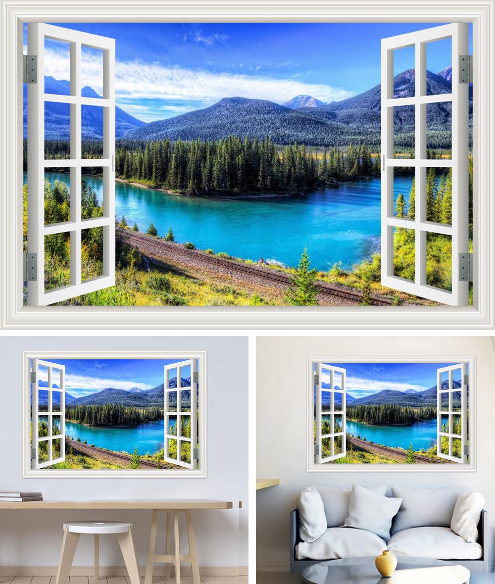 HTB12.wBb7fb uJkSnhJq6zdDVXaX - Modern 3D Large Decal Landscape Wall Sticker Snow Mountain Lake Nature Window Frame View For Living Room