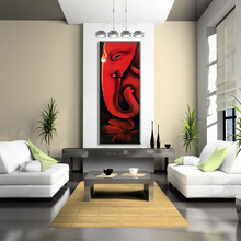 Handmade Abstract Animal Paintings For Living Room Decor Red Elephant Oil Painting On Canvas Hang Pictures Home Decor Art