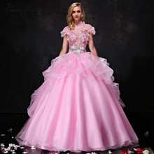 C.V 2017 sweet stand collar pink color princess wedding dress ball gown big flower plus size custom made
