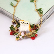 France Enamel Owl Series Snow Owl Crystal Pine Needles Sweater Chain Woman Gold Ornaments Party Jewelry(China)