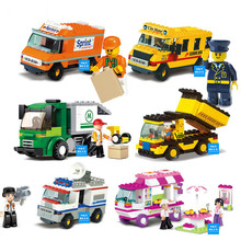 Compatible with SLUBAN Building Blocks City House Snack Car TV Express Police Truck school bus Brick girls Toy(China)