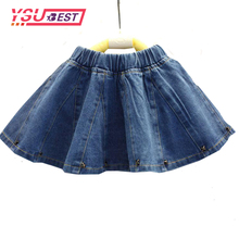 2-7Yrs Girls Denim Skirts New Summer Style Children Kids Clothes Casual Toddler Girl Mini Party Jean Baby Tutu Skirt Girl Blue