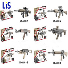 Lis 6PCS MOC Military swat police GUN M4 AK47 M16 AK74 Building Blocks Brick Arms Weapon Pack City Police Compatible With Lepin