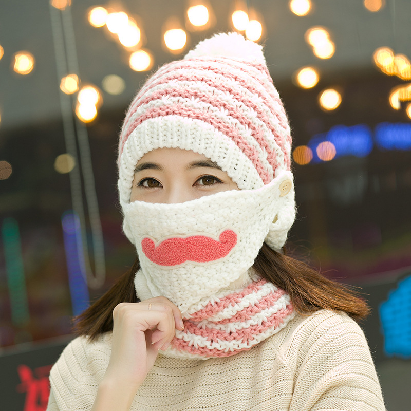 2017 autumn winter lady lovely beard cycling wind proof warm knitted wool cap cap skullies  M178Одежда и ак�е��уары<br><br><br>Aliexpress