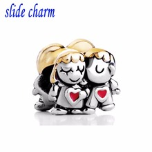 slide charm Free shipping Mother luxury goods brand golden hair sisters beads fit Pandora bracelet Christmas Valentine's Day(China)