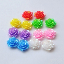 Fit For DIY Phone Embellishment 21mm 28pcs/Lot  AB Color Flat Back Resins Cabochon Scrapbook, 3D Resin Rose Flower
