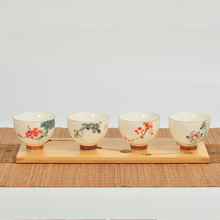 Handpainted Ink painting Flower White porcelain Tea Cup Ceramic Teacup Chinese  Kung Fu Tea Set Accessories  Tea Bowl 50ml New