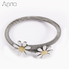 A&N Famous Solid Silver Plated New Fashion Mesh Sunflower Daisy Bangles Stainless Steel Jewelry Bracelets & Bangles For Women