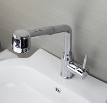 Kitchen Pull Out Mixer Water Taps Basin Kitchen Wash Basin Faucets Hot&Cold Chrome With Two Hose Faucet  Tap sam88