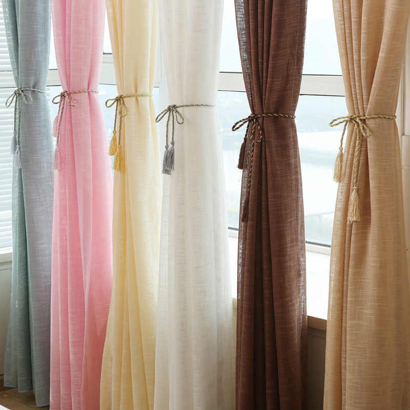 5 color Linen curtains Solid Tulle Window Curtains for Kitchen Door Living Room Bedroom Sheer Voile Curtain  Flax Yarn Curtain