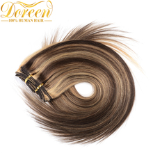 Doreen Mix Color #P4/27 Clip In Human Hair Extensions 70G 7Pcs Brazilian Remy Double Straight Hair 14-22 Inches Could be Curly