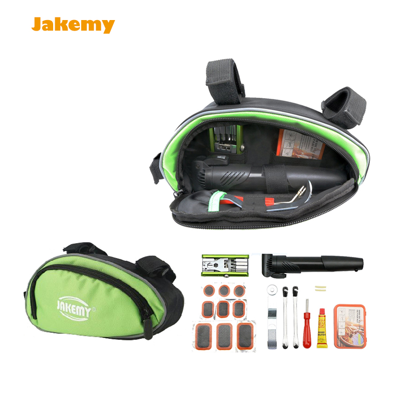 High quality Portable Jakemy Bike Bicycle Repair Tool kit set multi tool with screw driver puch pump Patches repairing tools<br>