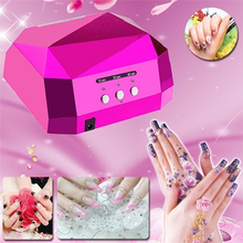 Rose red 36W UV Lamp LED Ultraviolet Lamp UV Nail Dryer Nail Lamp Diamond Shaped CCFL Curing for UV Gel Nails  Nail Art Tools