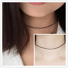 Lowest price !! Hot New women black leather cord necklace Maxi statement necklace Chokers Necklace for women 2017 Jewelry(China)