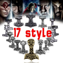 free shipping Sect Silver Plated Thor Hammer Knot Pendant Necklace Viking Norse Odin Jewelry For wholesale Men Christmas gifts