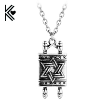 Cheap!Jewish Hebrew Sefer Torah Scroll Religious Men Pendant Necklace Women With Star Of David Antique Silver