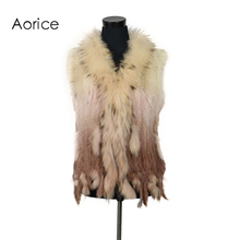VR001-17 Free shipping womens natural real  rabbit fur vest  with raccoon fur collar  waistcoat/jackets rex rabbit knitted