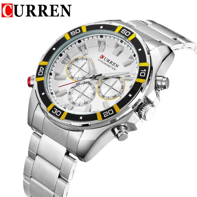 Men Business Quartz Watches Curren Luxury Top Brand Man Wristwatch Stainless Steel Mens Watch Chronograph Silver Band Male Clock<br><br>Aliexpress