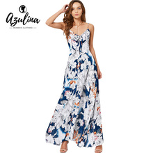 AZULINA Bowknot Floral Smocked Maxi Summer Dress Spaghetti Strap Casual Bohemian Women Dresses 2017 Femme Beach Long Vestidos(China)