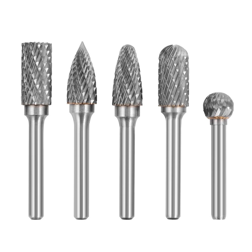 5pcs Tungsten Carbide Burr Rotary Cutter Engraving bit Set 12mm 1/4 Shank BI225<br><br>Aliexpress
