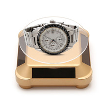 JAVRICK Double-Use Solar Power 360 Rotating Display Stand Table Watch Stand Display Solar Power Jewelry Display Stand